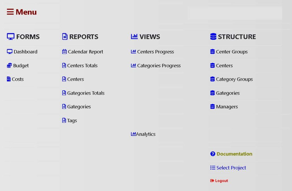 Software boostrap menu